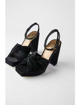 Velvet High Heel Platform Sandals by Zara