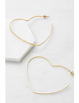Heart 18 K Gold Plated Hoop Earrings by Urban Outfitters