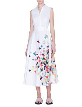 Pixel Print Sleeveless Midi Shirtdress by Akris Punto