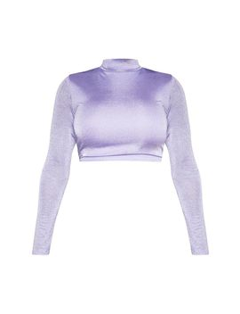 Shape Lilac Glitter High Neck Long Sleeve Crop Top by Prettylittlething