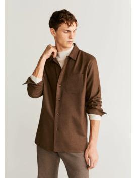 Koszula Regular Fit Z Wełnianego Diagonalu by Mango