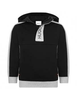 Boys Black & Grey Hooded Sweater by Boss Kids