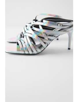 Multistrap Iridescent High Heeled Sandals by Zara