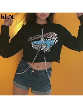 Kliou Cotton Letter Print New Women Fashion Long Sleeve Hoodie Sweatshirt Chains Jumper Hooded Pullover Tops Casual Short Coat by Ali Express.Com