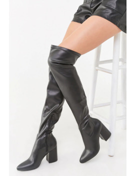 Over The Knee Block Heel Boots by Forever 21