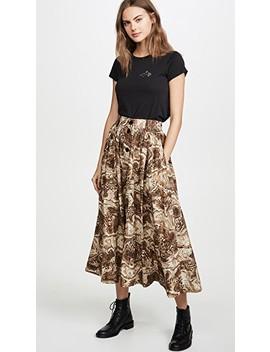 Printed Cotton Poplin Skirt by Ganni