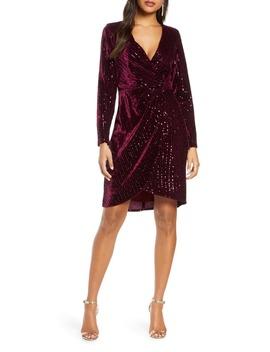 Velvet Sequin Long Sleeve Faux Wrap Dress by Julia Jordan