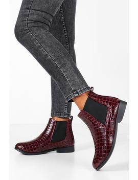 Croc Patent Chelsea Boots by Boohoo