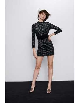 Vestito In Velluto Con Cintura by Zara