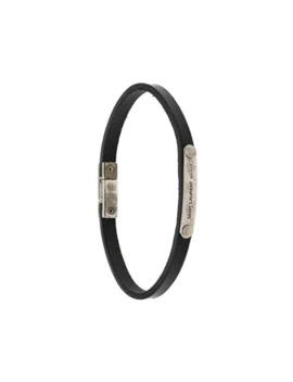 Bracelet En Cuir à Plaque Logo by Saint Laurent