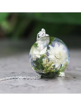 Real Flower Resin Necklace In Silver, Terrarium Necklace, Glass Ball Necklace With A Miniature Bouquet, Floral Design Necklace by Etsy