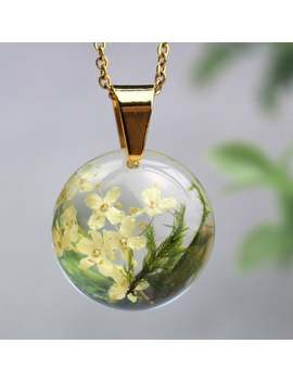 Real Flower Resin Necklace On Gold Chain, Real Moss Necklace Pendant, Dried Flower Necklace Birthday, Elegant Nature Jewelry For Her by Etsy