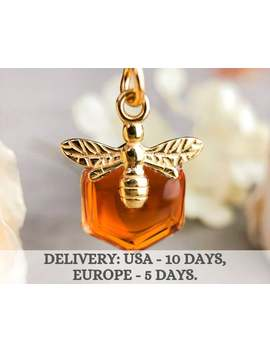 Gold Honey Bee Necklace Pendant, Honeycomb Charm Necklace, Jewelry Gift For Mom, Mother, Wife, Daughter by Etsy