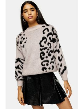 Knitted Spliced Animal Print Jumper by Topshop
