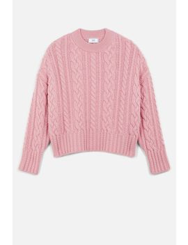 Women's Crewneck Cable Knit Oversize Sweater by Ami Paris