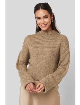 Round Neck Oversized Knitted Sweater Bruin by Na Kd Trend