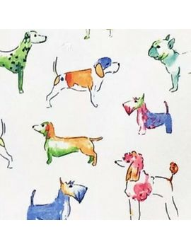 Cynthia Rowley Colorful Watercolor Dog Tablecloth Indoor Outdoor Fabric 70 Round by Cynthia Rowley New York