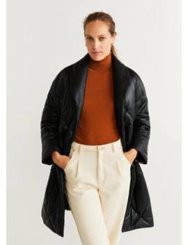Стеганое пальто из кожи by Mango