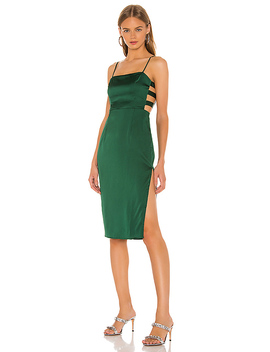 Arianne Cut Out Dress In Forest Green by Superdown