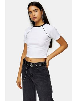 White Contrast Piping Raglan T Shirt by Topshop