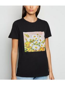 Black Daisy Painting Print T Shirt by New Look