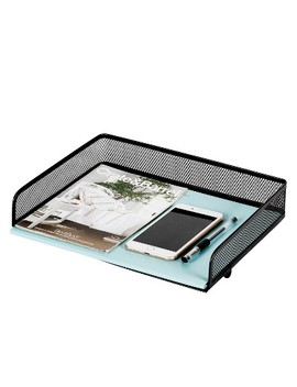 Mesh Stacking Letter Tray With Wide Side Opening Black   Made By Design™ by Made By Design