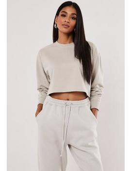 Light Grey Cropped Sweatshirt by Missguided