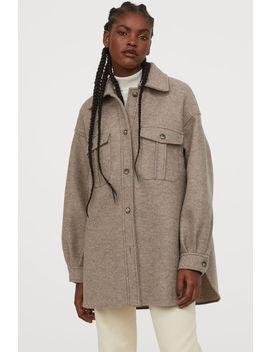 Oversized Wollen Hemdjas by H&M