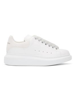 White Glitter Tab Oversized Sneakers by Alexander Mcqueen