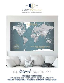 Push Pin World Map | World Map Poster| Canvas Travel Map | Personalized Push Pin World Map | Large World Map Push Pin Executive Style H I36 by Etsy