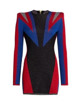 Puma X Balmain Colorblocked Jacquard Knit Mini Dress by Puma X Balmain