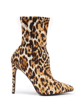 Leopard Print Stiletto Sock Booties by Forever 21