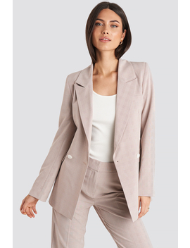 Checkered Double Breasted Blazer Pink by Nakdclassic