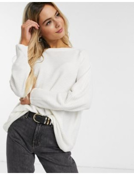 Jdy Ribbed Jumper With Crew Neck In White by Jdy's