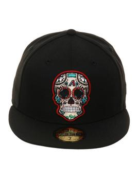 Exclusive New Era 59 Fifty Arizona Diamondbacks Sugar Skull Hat   Black by Hat Club