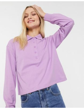 Monki Crop Rugby Shirt In Lilac by Monki