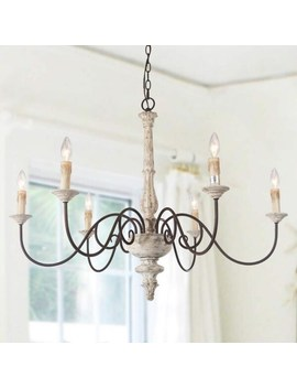 "Farmhouse 6 Light Persian White French Country Chandelier Rustic Wood   D37""*H28\ by Generic"