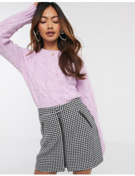 Miss Selfridge Cable Knit Jumper In Lilac by Miss Selfridge