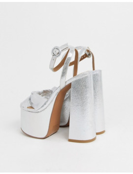 Asos Design Wide Fit Water Chunky Platform Bow Heeled Sandals In Silver by Asos Design
