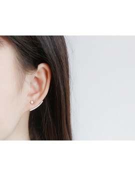 Sierlijke Zilveren Ear Jacket, Arc Ear Jacket, Lijn Oor Crawler, Cubic Zirconia Ear Jacket, Minimalistische Oorbellen, Two Way Oorbellen Van Ebben Hout Cadeau Voor Haar by Etsy