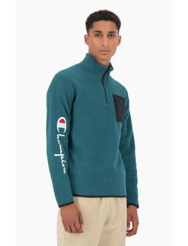 Velour Patch Pocket Half Zip Up Sweatshirt by Champion