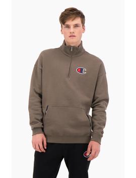 Half Zip Up Suede C Oversize Sweatshirt by Champion