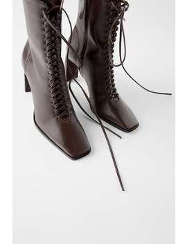 Laced Leather High Heel Ankle Boots by Zara