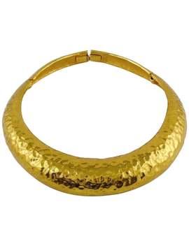 Yves Saint Laurent Ysl Vintage Hammered Gold Tone Polka Choker Necklace by 1 Stdibs