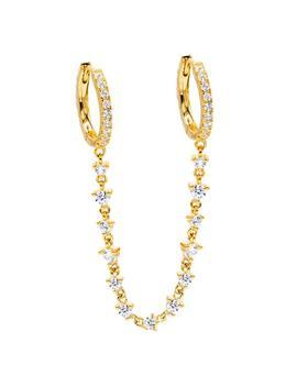 Cz Chain Double Huggie Earring by Adina's Jewels