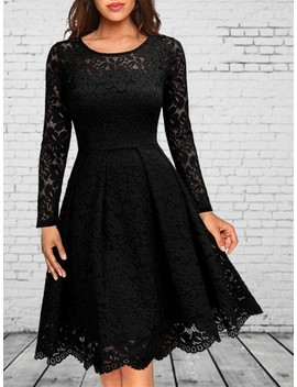 Black Patchwork Lace Round Neck Long Sleeve Elegant Party Wedding Prom Midi Skater Dress by Cichic