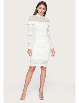 Mixed Lace Midi Dress by Bebe
