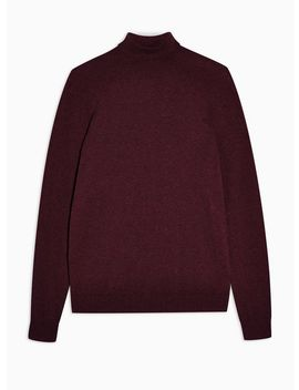 Burgundy Marl Roll Neck Knitted Jumper by Topman