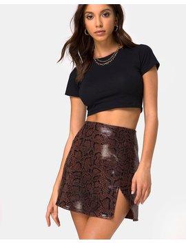 Wren Skirt In Pu Snake Brown By Motel by Motel