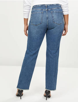 Signature Fit Straight Jean   Medium Wash With Frayed Hem by Lane Bryant
